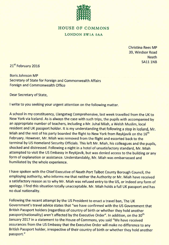 Letter to Boris Johnson MP, The Prime Minister and US Embassy