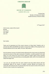 Letter to Cllr R G Jones regarding the landslide at Cyfyng Road, Ystalyfera