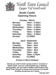 Neath Castle Opening times.