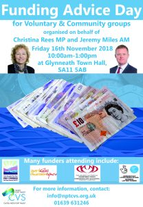 Funding Advice Day – Friday 16th November 2018, 10am-1pm, Glynneath Town Hall